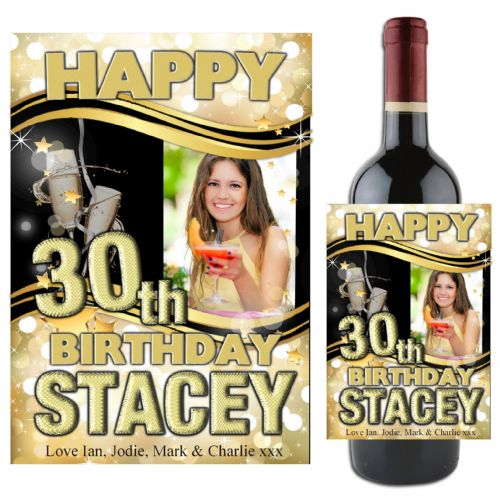 Personalised Black & Gold Happy Birthday Wine / Champagne Bottle PHOTO Label N72